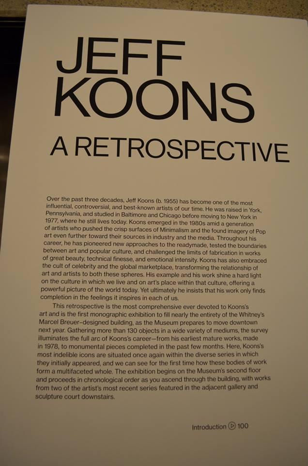 Jeff Koons at New York Whitney Museum - photo credit: Virag Gulyas (giagotos)